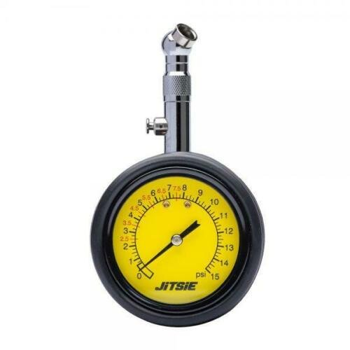 TYRE PRESSURE GAUGE 0-15 psi VALVE SHORT SOLID PIPE. image